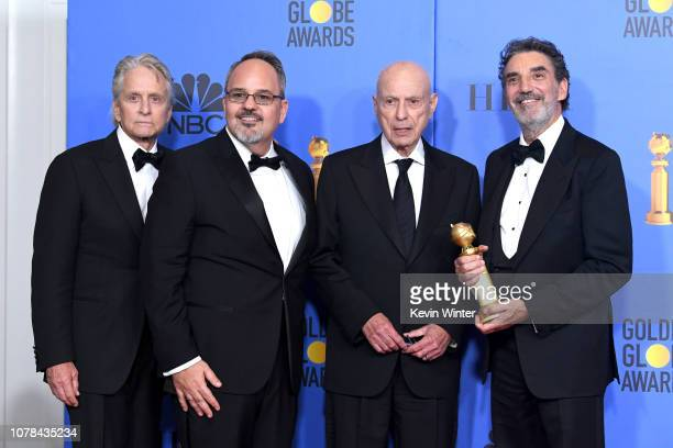 Winners of Best Television Series Musical or Comedy for 'The Kominsky Method' Michael Douglas Al Higgins Alan Arkin and Chuck Lorre pose with the...