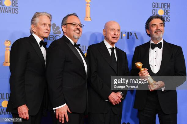 Winners of Best Television Series Musical or Comedy for 'The Kominsky Method' Michael Douglas Al Higgins Alan Arkin and Chuck Lorre pose in the press...
