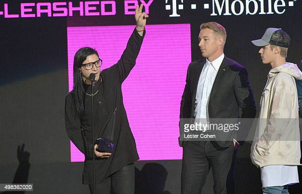 Winners of Collaboration of the Year Skrillex Diplo and Justin Bieber onstage during the 2015 American Music Awards at Microsoft Theater on November...