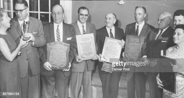 Winners of Distinguished service awards are shown at Allied jewish Campaign victory dinner Tuesday night From Left Palmer Hoyt Robert S Gamzey Moses...