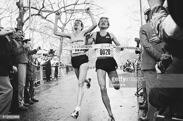 Winners of London's first marathon, Dick Beardsley, from Excelsior, Minnesota and Inge Simonsen, from Norway, cross line as joint winners with time...