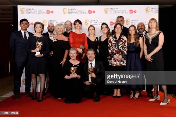 Winners of Mini Series for 'Three Girls' Ace Bhatti Lisa Riley Jill Halfpenny and Molly Windsor pose with members of 'Three Girls' in the press room...