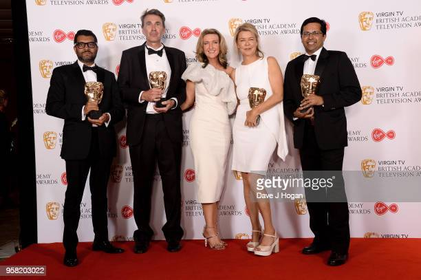 Winners of News Coverage for 'The Rohingya Crisis' Ashish Joshi Martin Smith Alex Crawford and Neville Lazarus pose with presenter Victoria...
