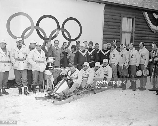 US winners of Olympic 4 man bobsled event with pilot William Flake is seated in front in this photograph The fourth place Swiss team is on the right