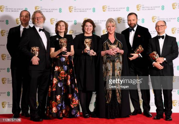 Winners of Outstanding British Film The Favourite Andee Ryder Tony McNamar Deborah Davis Lee Magiday Ceci Dempsey Yorgos Lanthimos and Ed Guiney in...