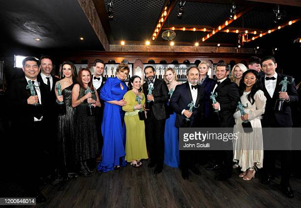 Winners of Outstanding Performance by an Ensemble in a Comedy Series for 'The Marvelous Mrs Maisel' cast and crew pose in the trophy room during the...