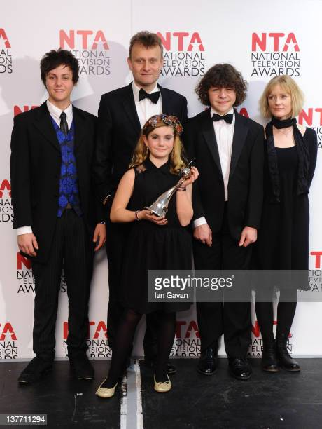 Winners of Situation Comedy Tyger DrewHoney Hugh Dennis Ramona Marquez Daniel Roche and Claire Skinner pose in the press room at the National...