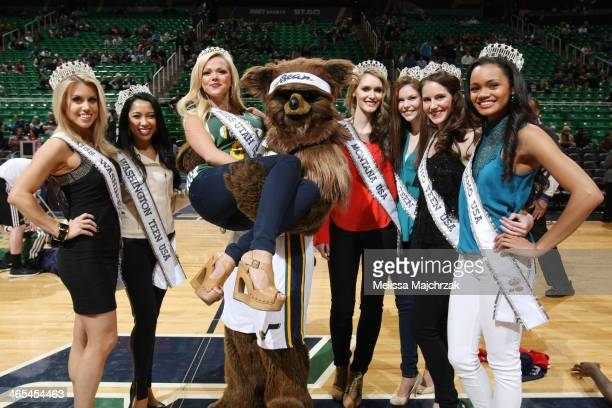 Winners of state Miss pageants and Teen Miss pageants pose with Jazz Bear as holds Angie Layton Miss Utah before the Utah Jazz and Washington Wizards...