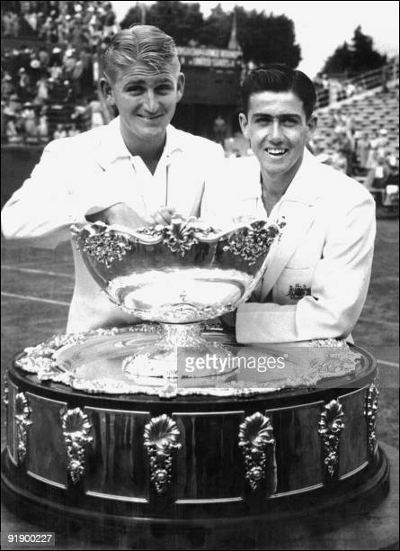 Winners of the 1953 Davis Cup at Kooyono Victoria 31 December Lewis Hoad who won his two singles matches and Ken Rosewall who gave Australia a 32...