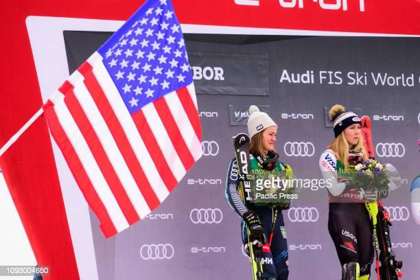MARIBOR SLOVENIA MARIBOR SLOVENIA Winners of the Audi FIS Alpine Ski World Cup Women's Slalom Golden Fox in Maribor Slovenia From left Anna Swenn...