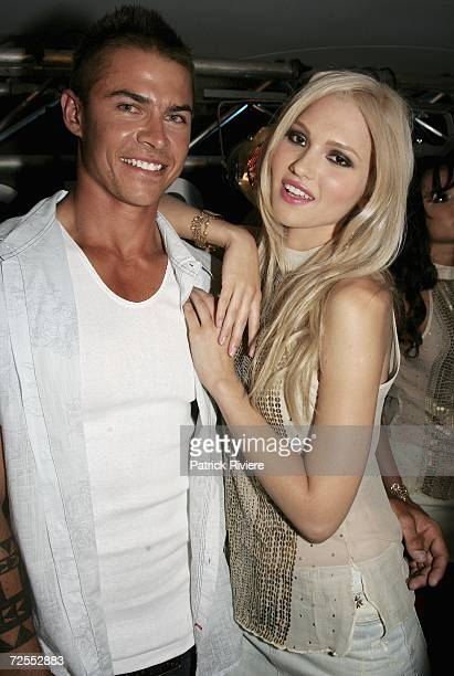Winners of the Australian Guess Faces to Watch Gavin Durrant and Mena Lovin pose during the Guess Faces to Watch party at Catalina restaurant Rose...