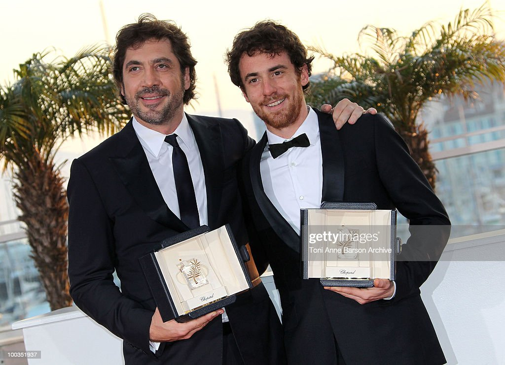 Winners of the award for Best Actor Javier Bardem (L) Elio Germano attend the Palme d'Or Award Ceremony Photo Call held at the Palais des Festivals during the 63rd Annual International Cannes Film Festival on May 23, 2010 in Cannes, France.