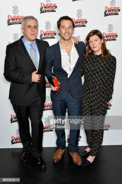 Winners of the Best Documentary award for 'Supersonic' director Matt Whitecross and producers Simon Halfon and Fiona Neilson pose in the winners room...