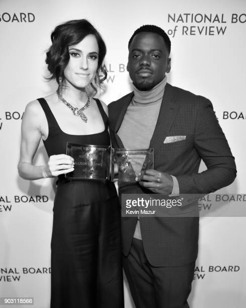 Winners of the Best Ensemble Award for Get Out Allison Williams and Daniel Kaluuya pose during the The National Board Of Review Annual Awards Gala at...