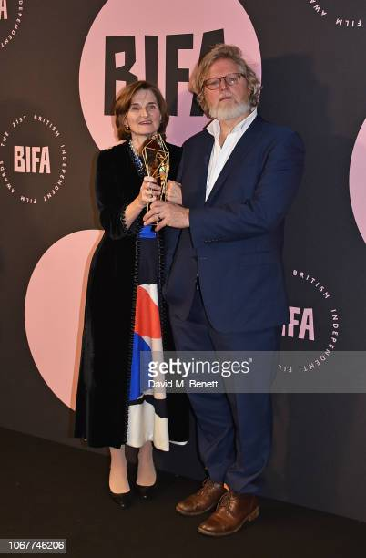 Winners of the Best Screenplay Award for 'The Favourite' Deborah Davis and Tony McNamara at the 21st British Independent Film Awards at Old...