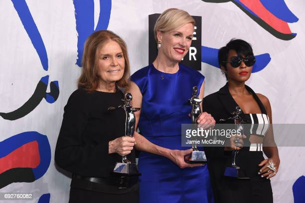 Winners of the Board of Directors' Tribute Gloria Steinem President of Planned Parenthood Cecile Richards and Janelle Monáe pose on the Winners Walk...
