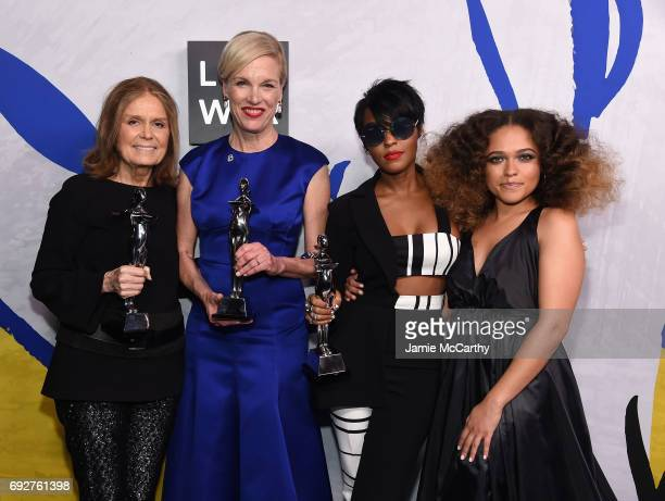 Winners of the Board of Directors' Tribute Gloria Steinem President of Planned Parenthood Cecile Richards and Janelle Monáe pose with Eryn Allen Kane...