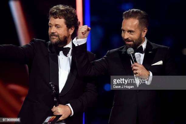 Winners of the Classic FM Album of the Year Michael Ball and Alfie Boe on stage during the 2018 Classic BRIT Awards held at Royal Albert Hall on June...