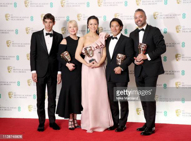 Winners of the Documentary award Alex Honnold Shannon Dill Elizabeth Chai Vasarhelyi Jimmy Chin and Evan Hayes pose in the press room during the EE...