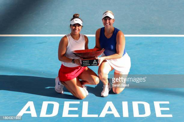 Winners of the doubles finals Desirae Krawczyk of USA and Alexa Guarachi of Chile during day six of the Adelaide International WTA 500 at Memorial...