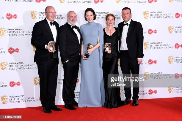 Winners of the Drama Series award for 'Killing Eve', Colin Wratten, Kim Bodnia, Phoebe Waller-Bridge, Sally Woodward Gentle and Lee Morris pose in...