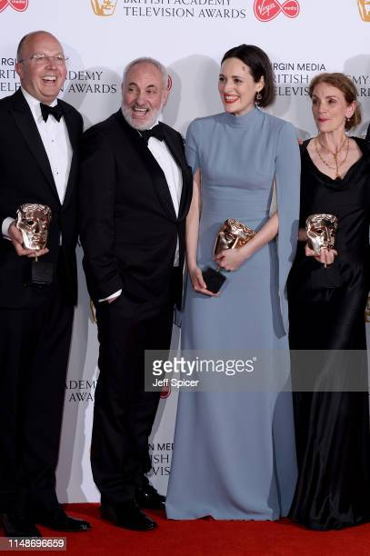 Winners of the Drama Series award for 'Killing Eve', Colin Wratten, Kim Bodnia, Phoebe Waller-Bridge and Sally Woodward Gentle pose in the Press Room...