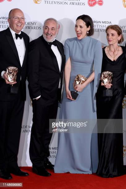 Winners of the Drama Series award for 'Killing Eve' Colin Wratten Kim Bodnia Phoebe WallerBridge and Sally Woodward Gentle pose in the Press Room at...
