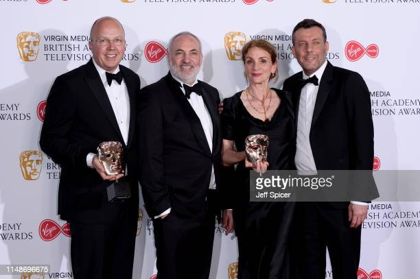 Winners of the Drama Series award for 'Killing Eve', Colin Wratten, Kim Bodnia, Sally Woodward Gentle and Lee Morris pose in the Press Room at the...