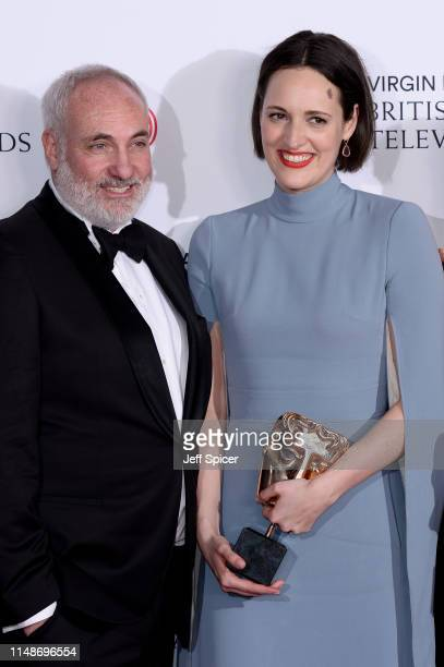 Winners of the Drama Series award for 'Killing Eve', Kim Bodnia and Phoebe Waller-Bridge pose in the Press Room at the Virgin TV BAFTA Television...