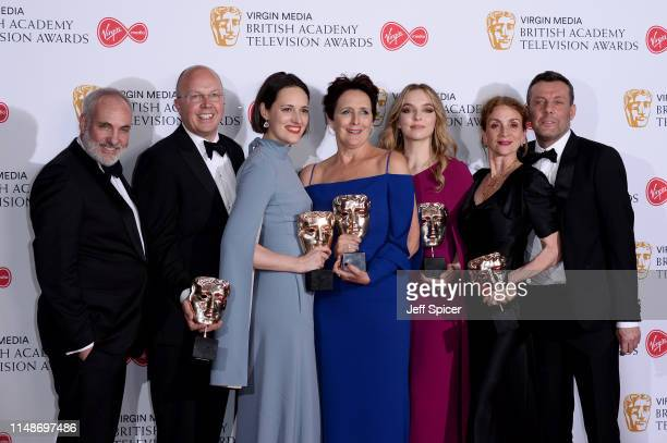 Winners of the Drama Series award for 'Killing Eve', Kim Bodnia, Colin Wratten and Phoebe Waller-Bridge, winner of the Supporting Actress award for...