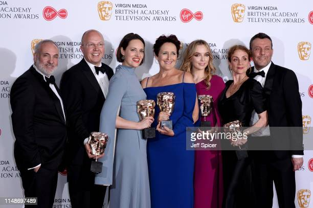 Winners of the Drama Series award for 'Killing Eve' Kim Bodnia Colin Wratten and Phoebe WallerBridge winner of the Supporting Actress award for...