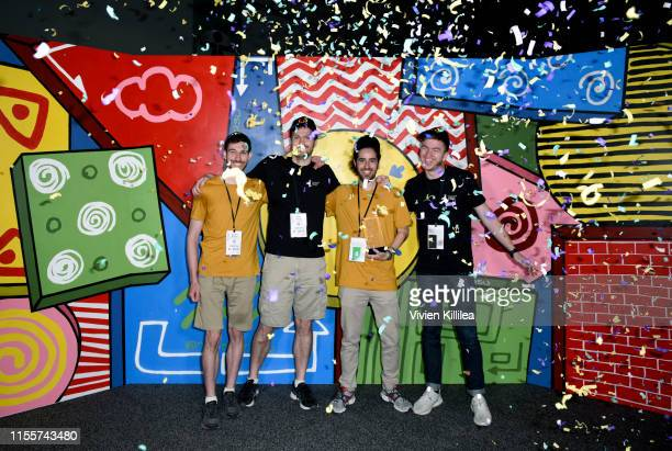 Winners of the E3 College Game Competition from Drexel University pose onstage during E3 2019 at the Los Angeles Convention center on June 13 2019 in...