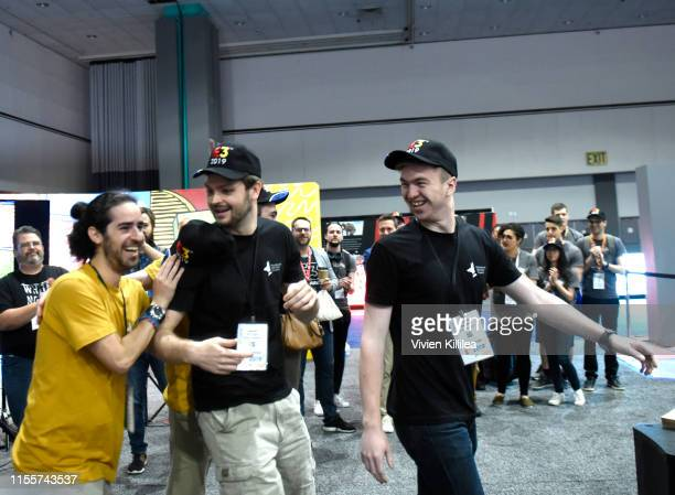 Winners of the E3 College Game Competition from Drexel University walk onstage during E3 2019 at the Los Angeles Convention center on June 13 2019 in...