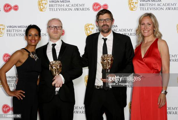 Winners of the Factual Series award for 'Louis Theroux's Altered States', Arron Fellows and Louis Theroux pose in the Press Room with Naga Munchetty...