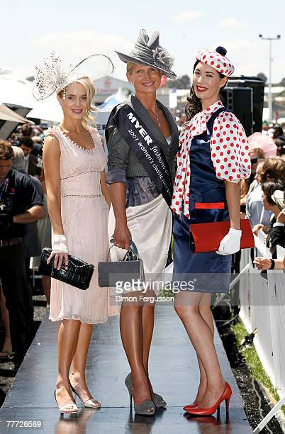 Winners of the Fashion on the Field best dressed Margot Carle Lorraine Cookson and Lisa Tan pose during the second day of the Melbourne Cup Carnival...