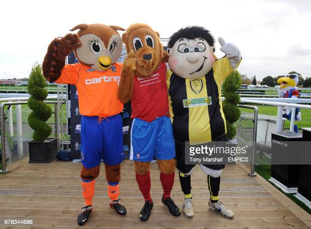 Winners of the Football League Mascot Race in support of Prostate Cancer UK Winner from York City FC Yorkie the Lion 2nd place Burton Albion FC's...