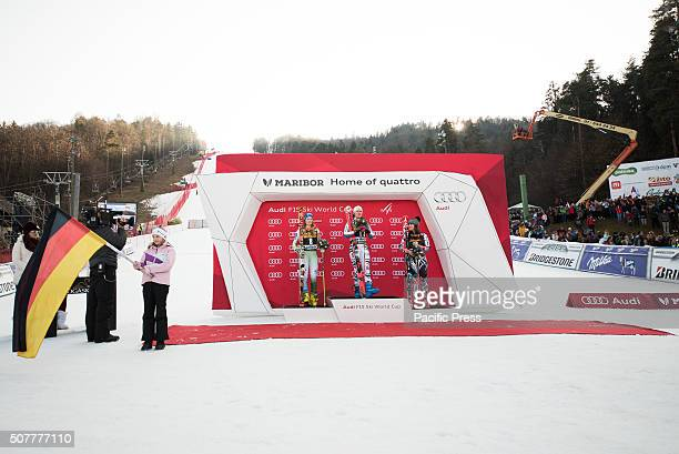 MARIBOR SLOVENIA MARIBOR SLOVENIA Winners of the Giant Slalom at Golden Fox on podium in Maribor Slovenia From left Ana Drev of Slovenia Viktoria...