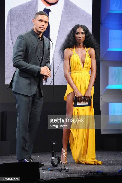 Winners of the GLAAD Outstanding Talk Show Episode Trevor Noah and Angelica Ross appear onstage as Ketel One Vodka sponsors the 28th Annual GLAAD...
