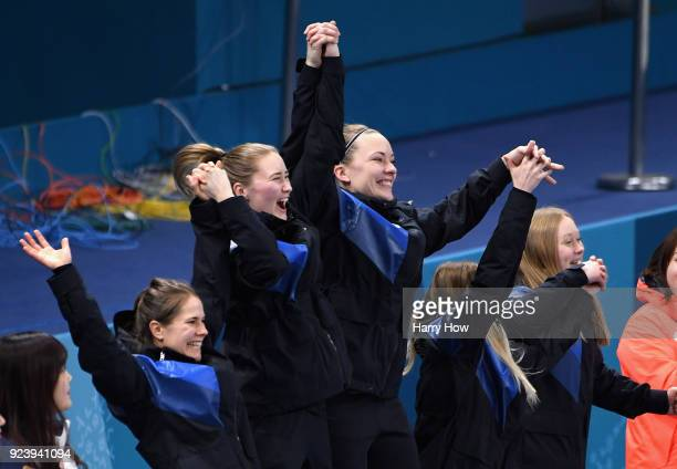Winners of the gold medal Jennie Waahlin Sofia Mabergs Agnes Knochenhauer Sara McManus and Anna Hasselborg of Sweden celebrate following the Women's...