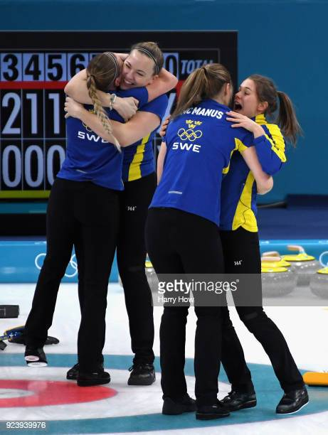 Winners of the gold medal Sofia Mabergs Agnes Knochenhauer Sara McManus and Anna Hasselborg of Sweden celebrate following the Women's Gold Medal Game...