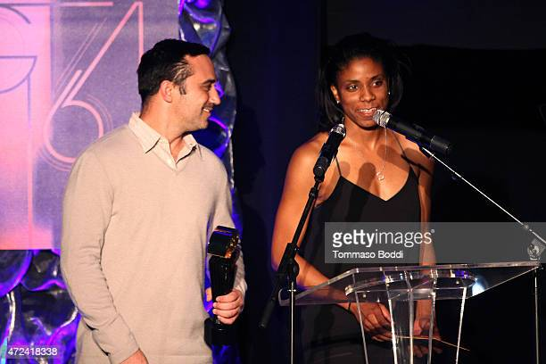 Winners of the Golden Fleece Golden Trailer Award producer Dave Ligorner and editor Meko Winbush on stage during the 16th annual Golden Trailer...