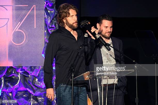 Winners of the Golden Trailer Award for Best Drama Trailer producer Bill Neil and editor Michael Brodner on stage during the 16th annual Golden...