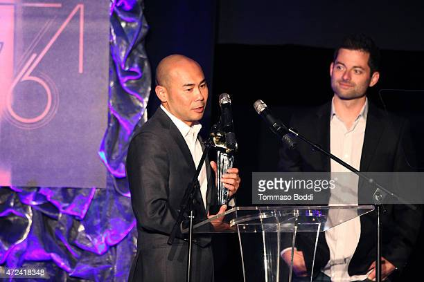 Winners of the Golden Trailer Award for Best Independent Trailer producer Scott Mitsui and editor Zack Pentoney on stage during the 16th annual...
