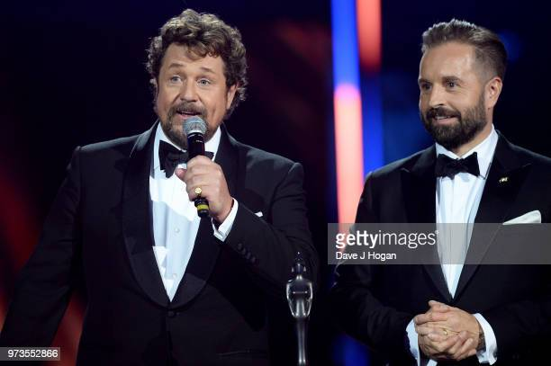 Winners of the Group of the Year award Michael Ball and Alfie Boe speak on stage during the 2018 Classic BRIT Awards held at Royal Albert Hall on...