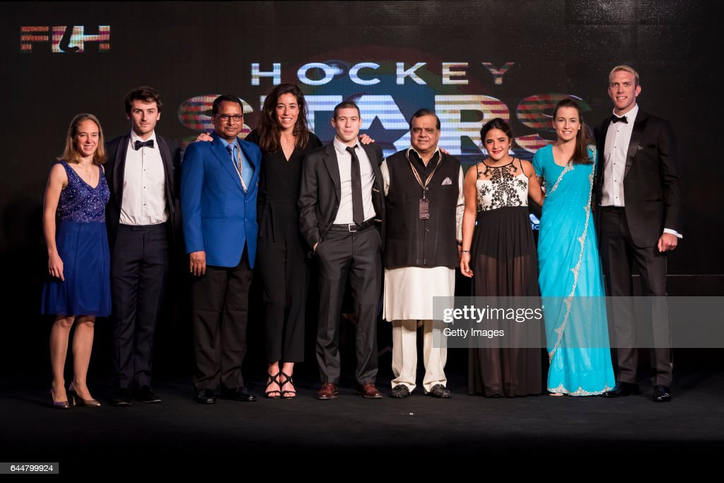 Winners of the Hockey Stars Awards 2016 and Officials of The International Hockey Federation [Left to Right] FIH Female Umpiring Award Winner Laurine.