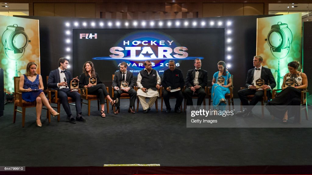 Winners of the Hockey Starts Awards 2016 [Left to Right] FIH Female Umpiring Award Winner Laurine Delforge of Belgium FIH Male Rising Star of the...