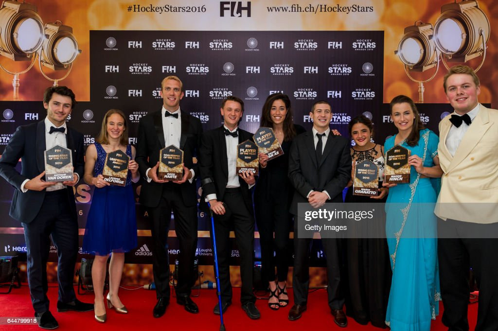 Winners of the Hockey Starts Awards 2016 [Left to Right] FIH Male Rising Star of the Year Arthur Van Doren of Belgium FIH Female Umpiring Award...