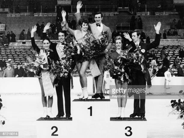 Winners of the ice dancing competion on the podium at the European Figure Skating Championships in Zurich Switzerland 4th February 1971 In first...