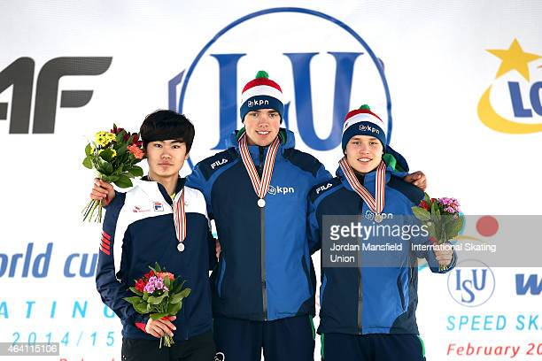 Winners of the Men's Allround Classification Gold medalist Patrick Roest of the Netherlands Silver medalist MinSeok Kim of Korea and Bronze medalist...