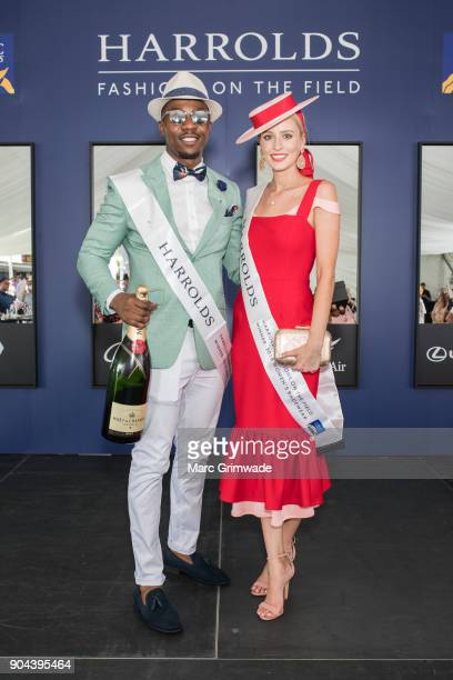 Winners of the Mens and Womens Fashion on the Field event Farai Chiwedza and Millicent Van Der Velde attend Magic Millions Raceday on January 13 2018...